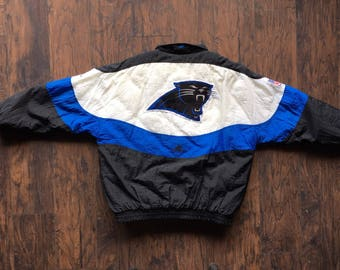 Vintage Carolina Panthers HEAVY Nylon NFL Pro Line by Apex One Awesome jacket heavy winter coat puffer