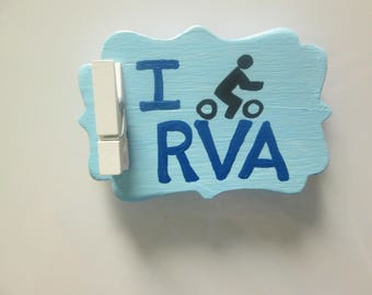 I Bike RVA hand painted wooden magnet with clip- Richmond, VA