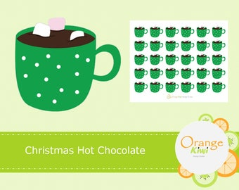 Hot Chocolate with Marshmellows, Hot Chocolate Stickers, Christmas Stickers, Hot Cocoa Stickers, Planner Stickers