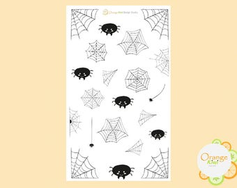 Spider Webs, Spider Web Stickers, Halloween Planner Stickers, Spider Stickers, Kawaii Stickers