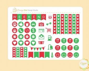 Christmas Weekly Kit Sampler Stickers, Erin Condren Life Planner