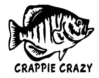 Crappie Crazy Fishing Vinyl Sticker Decal boat fish pole ocean bass hunting hunt 160