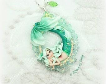 Collana con sirena verde acqua