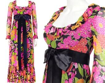 Vintage Prom Dress XS, Chiffon Dress, Psychedelic Dress, 60s Dress, Floral Dress, Maxi Dress, Ruffle Hem, Long Sleeves, SIZE XS 0 2