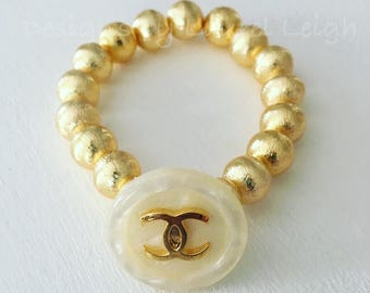 GOLD Designer Beaded Bracelet | PEARL, stretchy, Designs by Laurel Leigh