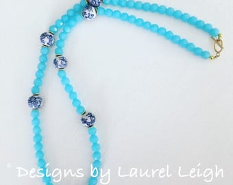 Blue and White Chinoiserie Beaded Necklace | light blue, spa blue, long, Designs by Laurel Leigh