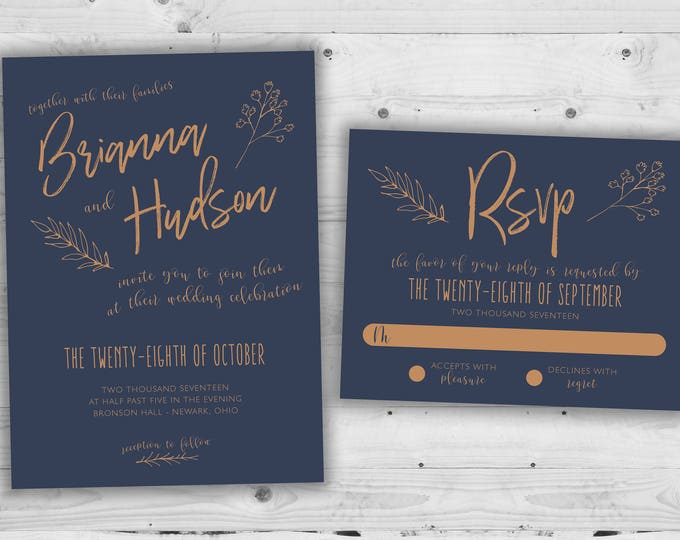 Wedding Invitation, Wedding Announcement, Wedding Invitations, Wedding Invite, Copper Wedding Invitation, Wedding Invitation Set Kit, Rustic