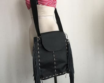 Real handmade crossbody bag, from durable leather with elements of fashionable leather fringe new women's black color bag size - medium.