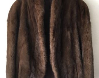 Genuine Soft Mink Fur Velvet Short Vintage Coat Women's Dark Brown Medium Size.