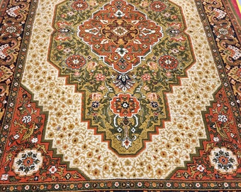 Colored bright ornament rug 100% wool oriental pattern brown beige and orange color warm vintage old big rug perfect for home & restaurant.