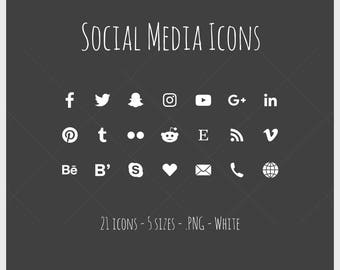 Social Media Icons - 21 icons in 5 sizes, white, PNG files, solid icon
