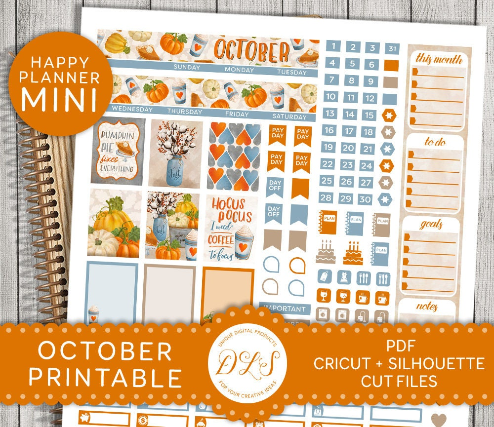 October Mini Happy Planner October Monthly Sticker Kit