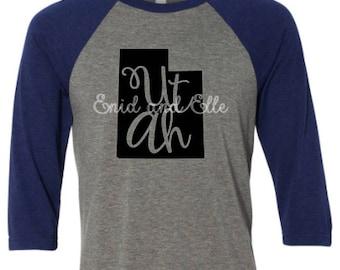 Utah t-shirt - Utah state shirt - Utah home t-shirt - home shirt - Utah baseball shirt - Utah raglan shirt - Enid and Elle