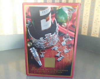 Lenox Yuletide Metal Serveware Holiday Party Pack Wine Caddy, Wine Stopper, and Six Wine Charms, Never Used