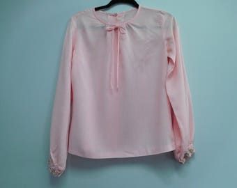 Vintage 1970's Long Sleeve Pink Blouse Size Medium with Buttoned Up Back
