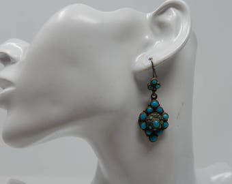 Old Indian earring with turquoise, free shipping!