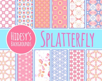Splatterfly Watercolor Digital Paper / Patterns Commercial Use Backgrounds