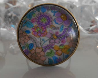 "Ring bronze ""Floral painting"" glass cabochon"