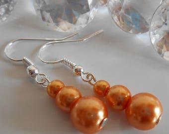 Bronze wedding trio of Orange beads earrings