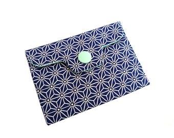 japanese card holder, Porte carte ou porte monnaie japonais, mer, tissu bleu marine et blanc japonais, idée cadeau homme ou femme,  men gift