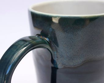 Ceramic mug, Dark blue soup mug, Coffee & Tea mug, Modern pottery cup, Unique drinkware, Large navy blu mug, Blue green tableware, 500ml mug