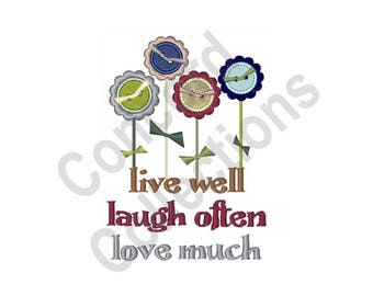Button Flowers - Machine Embroidery Design, Live Well - Machine Embroidery Design