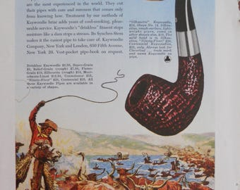 Kaywoodie Pipe ad.  1947 Kaywoodie Pipe ad.   Charles Russell illustration.  Kaywoodie ad.  Full color, illustrated ad.