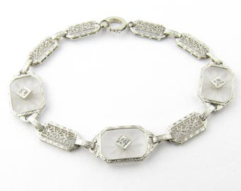 Vintage 14 Karat White Gold and Diamond Bracelet #2967