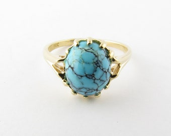 Vintage 14 Karat Yellow Gold Turquoise Ring Size 6.75 #3045