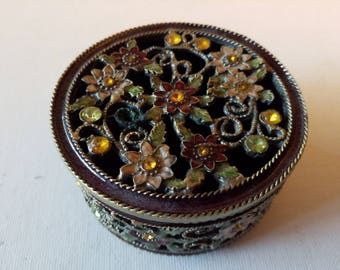 Enameled jewelled like metal box