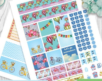 August Monthly Kit planner stickers Printable, HAPPY PLANNER STICKERS, August Monthly Kit,Hot air balloons Planner Stickers Instant Download