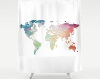 World Map Shower Curtain, Rainbow Shower Curtain, Globe Bath Decor, Wanderlust Decor, Travel Lover Bathroom Accessories, Travel Decor