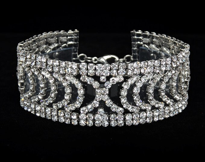 Aria Clear Crystal Competition Bracelet for IFBB and NPC Bikini Fitness Bodybuilding Contests