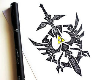 Legend Of Zelda, Hylian Crest, Triforce, Game, Stippling Black And White Ink Drawing, Giclee Print