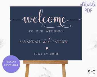 Wedding Welcome Sign, Navy and Blush, Welcome Sign, Large Wedding Welcome Sign, Custom Wedding Sign, Wedding Welcome, Wedding Poster