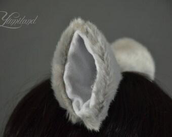 Light Grey Cat Ears | Huge Clip on Cat Ears | Cat Ears | Clip on Ears | Fluffy ears | Kitty Ears | Anime Ears | Manga Ears | Fur Ears