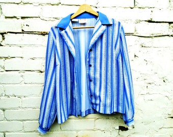 Vintage Blouse - Long Sleeved - 90's - Office - Smart - Blue