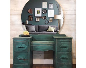 Teal Vintage Vanity Dresser with Round Mirror