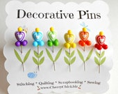Decorative Sewing Pins - Heart Pins - Gift for Quilters - Sewing Pins - Fancy Pins - Scrapbooking Pins - Quilting Pins -  Pincushion Pins