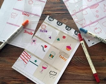 40% Off Sale Planner stencil with 28 designs on 7 mil laminate.