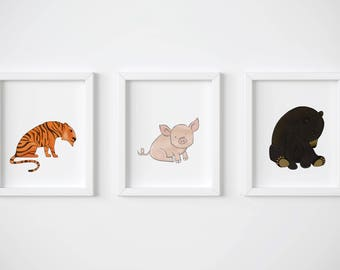 100 Acre Wood Inspired Nursery Wall Art - Set of 3 Prints - Black Bear Winnie the Pooh, Tigger and Pigglet for Your 100 Acre Wood Nursery