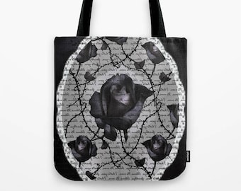 Black Rose Tote Bag, valentines day rose bag , fashion Tote Bags, Gothic Bag, canvas tote, illustrated tote, Black Tote Bag, Gothic Rose