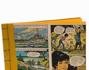 """Petit carnet illustration vintage du livre le """"club des cinq"""", reliure japonaise, fait main , made in France, pages interieures jaune,"""