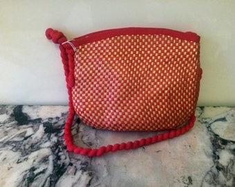 1960s Red and Gold Rope and Woven Straw Handbag / Shoulder Bag - Psych Mod Hippie Sixties