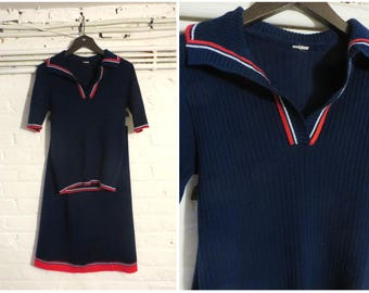 1970s vintage navy blue knit jersey set ( polo shirt top and skirt ) - UK 8 EU 36 US 6 - Hipster Preppy Varsity Golf
