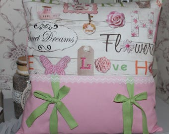 Cushion cover for girl in pink and green DREAMS /FLOWER 40/40
