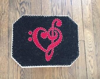 Custom Made to Order Treble/Bass Clef Heart String Art