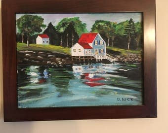 Cape Cod MA Boat House - Original acrylic artwork