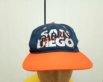 Rare Vintage SAN DIEGO PADRES Spell Out Big Logo Cap Hat Free Size Fit All