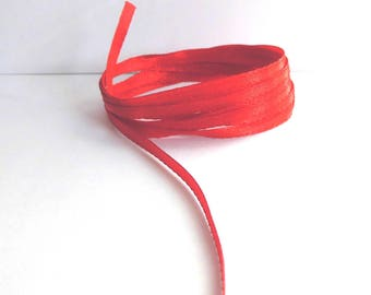 Red satin - 3mm wide - sold by 50cm Ribbon